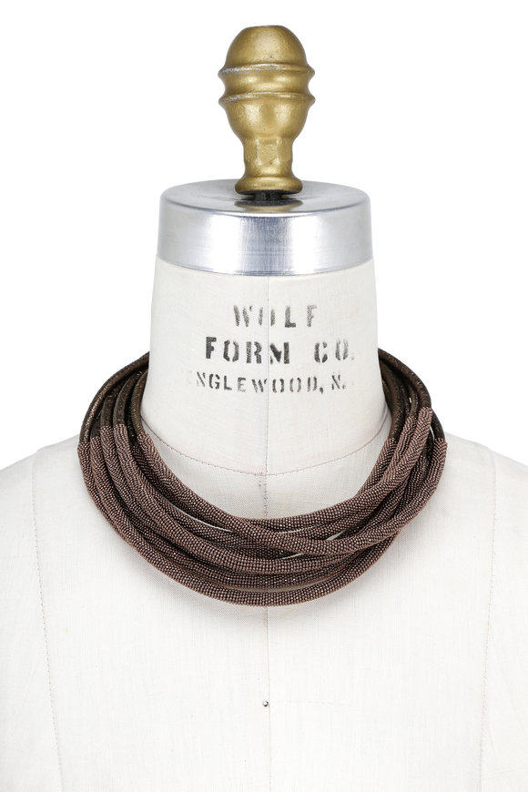 Brunello Cucinelli Bronze Leather & Monili Tubular Layered Necklace