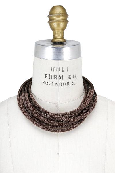 Brunello Cucinelli - Bronze Leather & Monili Tubular Layered Necklace