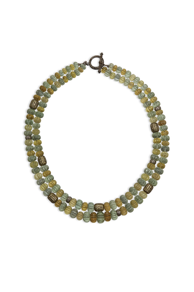 Gold Amethyst Topaz Sapphire Diamond Necklace