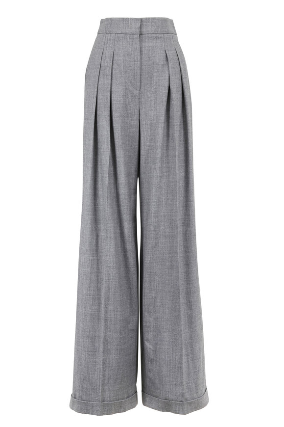 Michael Kors Collection Banker Gray Tropical Wool Wide Leg Cuffed Pant