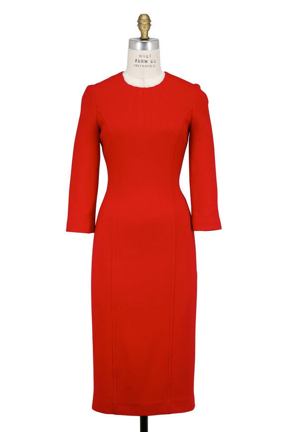 Michael Kors Collection Crimson Stretch Wool Three-Quarter Sleeve Dress