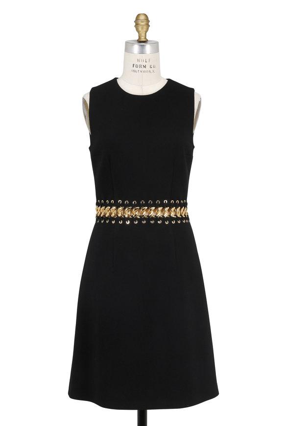 Michael Kors Collection Black Stretch Wool Chain Waist Sleeveless Dress