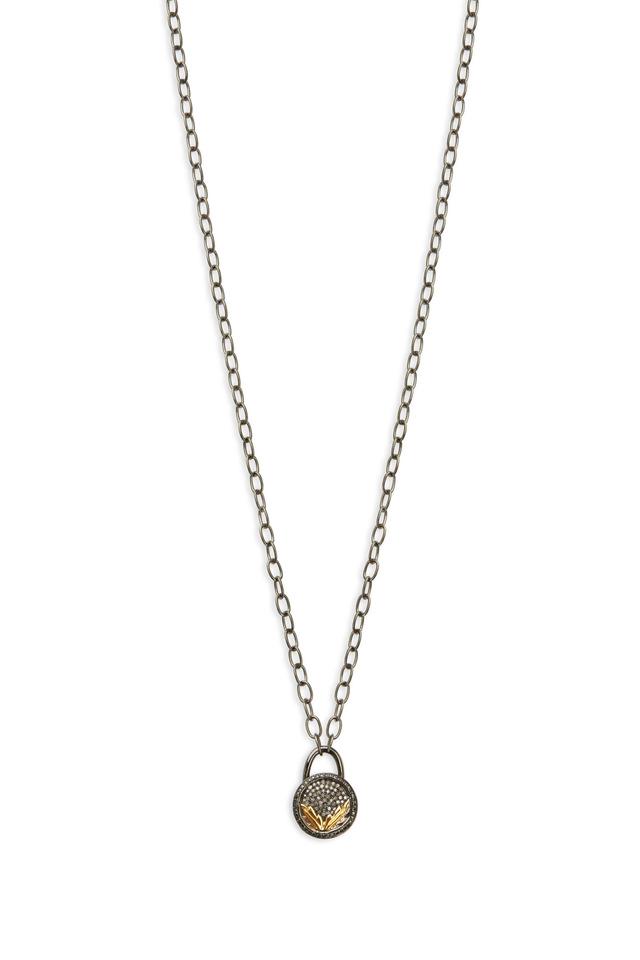 Gold & Silver White Diamond Lock Necklace