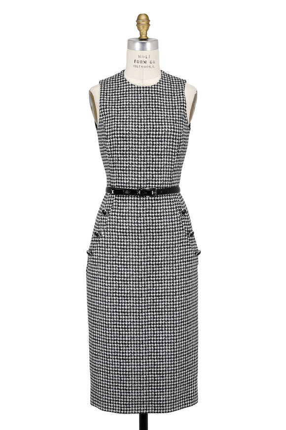 Michael Kors Collection Black & White Wool Houndstooth Belted Sheath Dress