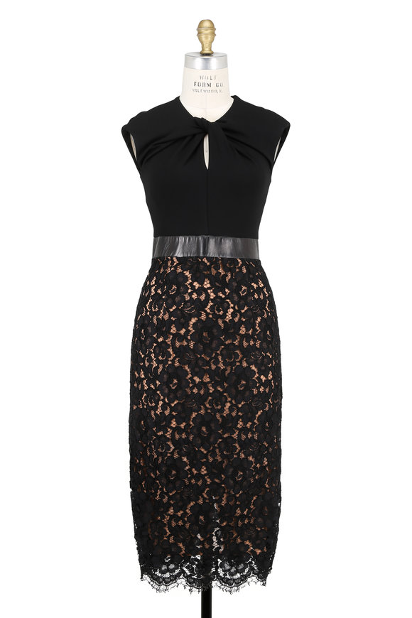 Michael Kors Collection Black Floral Lace Plongé Waist Dress