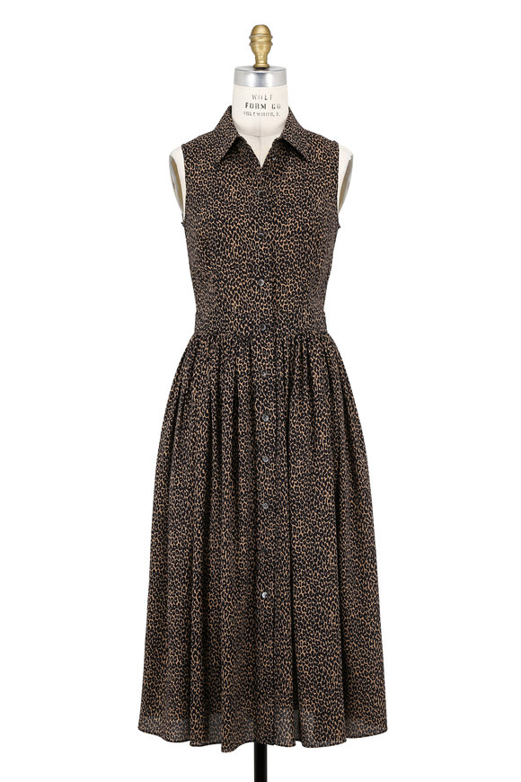 Michael Kors Collection Black & Chino Baby Leopard Print Sleeveless Dress