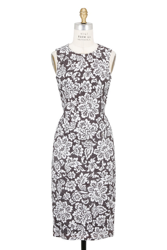 Michael Kors Collection Black & White Lace Printed Sleeveless Sheath