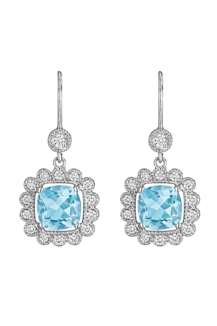 Gold Aquamarine Scalloped Diamond Drop Earrings