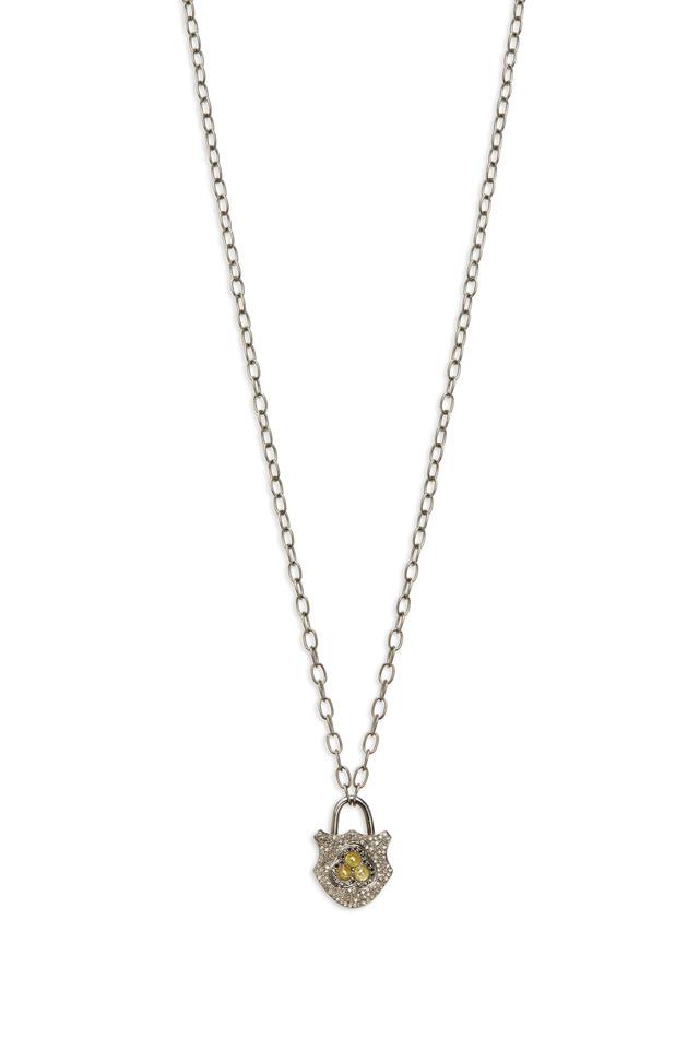 Gold Black, White & Cognac Diamond Lock Necklace