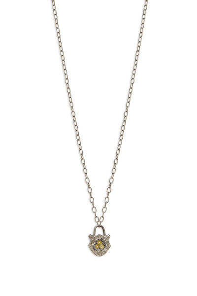 Loriann - Gold Black, White & Cognac Diamond Lock Necklace