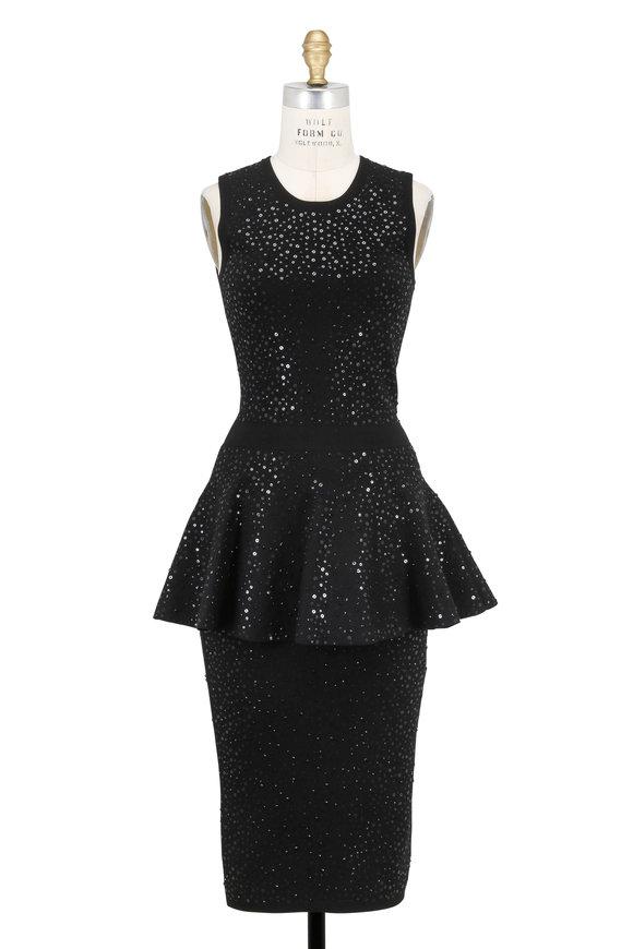 Michael Kors Collection Black Stretch Knit Sequin Peplum Dress