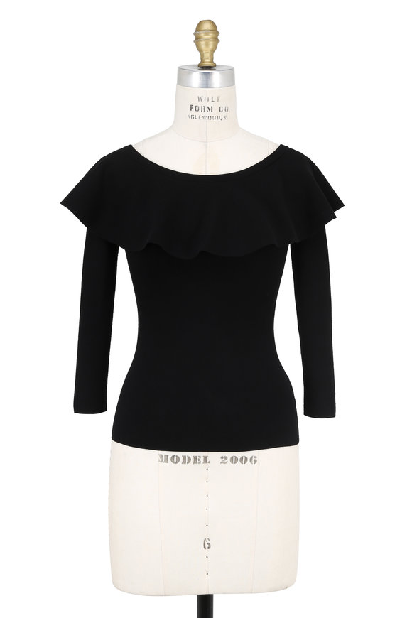 Michael Kors Collection Black Ruffled Three-Quarter Sleeve Top