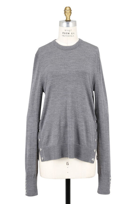 Michael Kors Collection Banker Gray Merino Wool Side-Snap Sweater