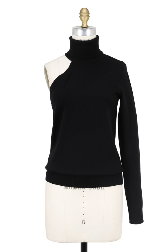 Michael Kors Collection Black Cashmere One Shoulder Turtleneck