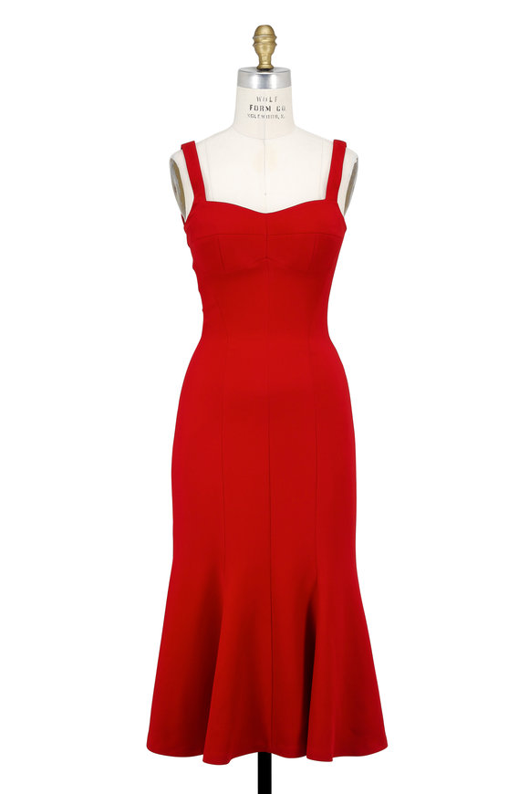Michael Kors Collection Crimson Stretch Cady Flared Slip Dress
