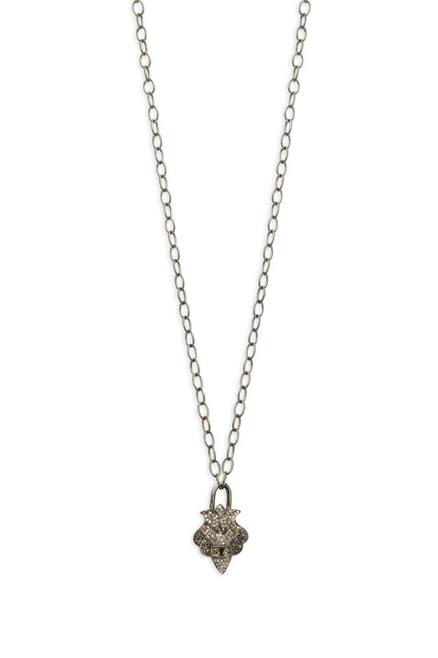 Gold Celtic Black & White Diamond Lock Necklace