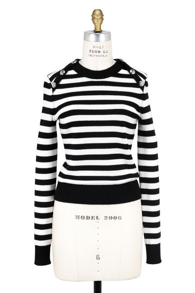 Michael Kors Collection - Black & White Striped Button Shoulder Sweater