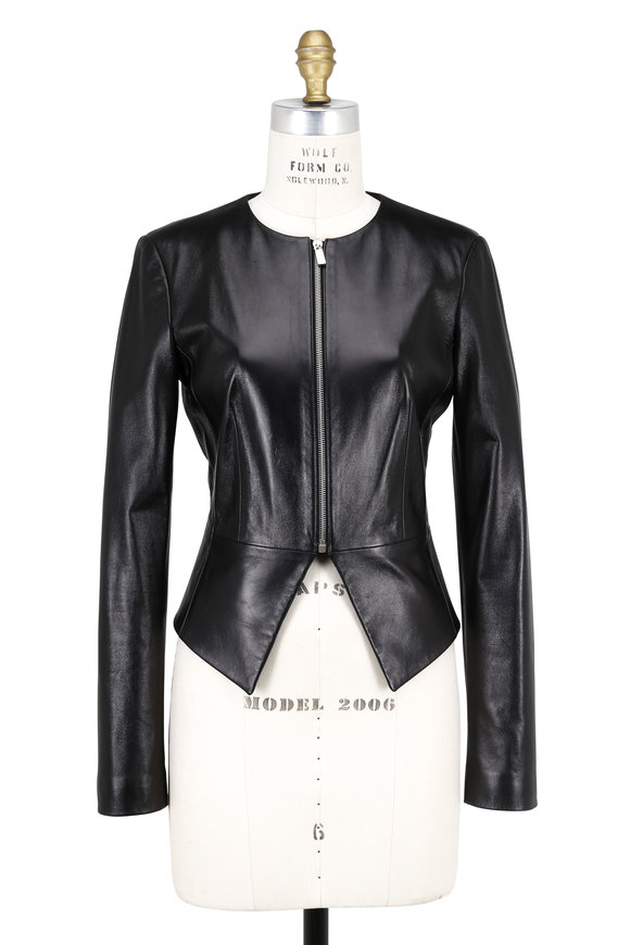 Michael Kors Collection Black Leather Zip Front Peplum Jacket
