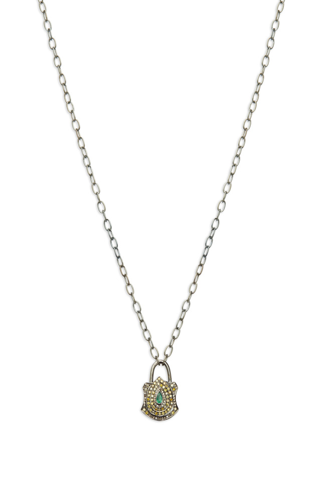 Gold Emerald Yellow & White Diamond Lock Necklace
