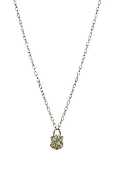 Loriann - Gold Emerald Yellow & White Diamond Lock Necklace