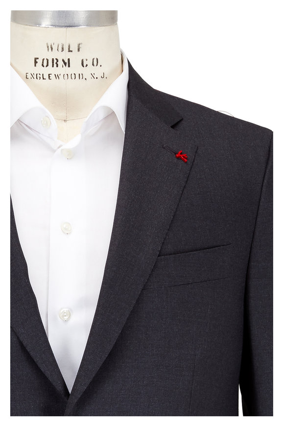 Isaia Aquaspider Charcoal Gray Performance Wool Suit
