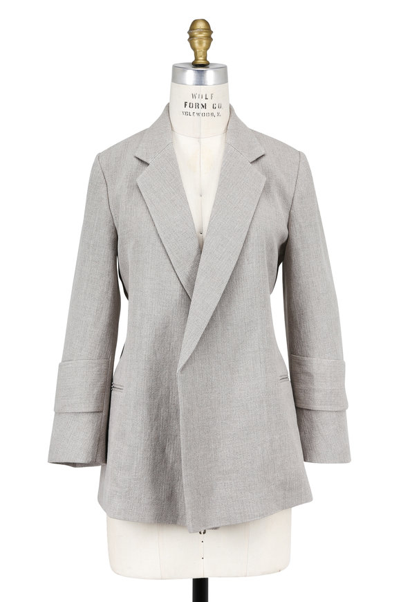 Victoria Beckham Ecru Herringbone Linen Double-Breasted Open Jacket