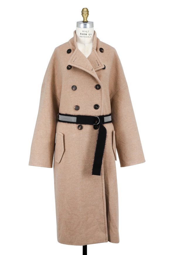 Brunello Cucinelli Camel Cashmere Double-Breasted Coat