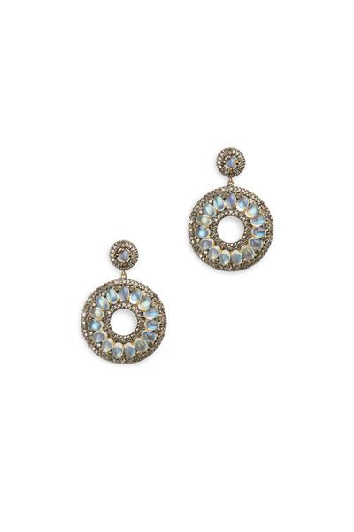 Loriann - Gold Rainbow Moonstone White Diamond Earrings