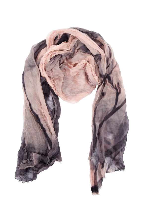Brunello Cucinelli Frosted Rose & Charcoal Printed Cashmere Scarf