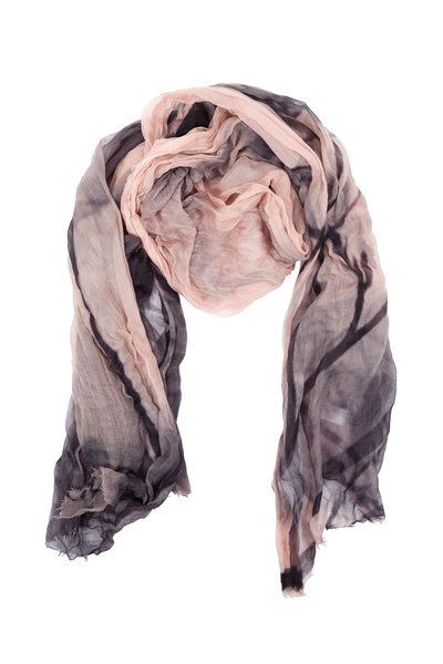 Brunello Cucinelli - Frosted Rose & Charcoal Printed Cashmere Scarf