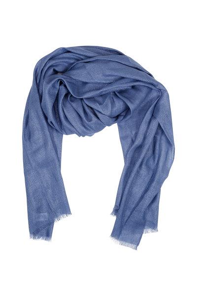 Brunello Cucinelli - Solid Oxford Blue Cashmere & Lurex Scarf