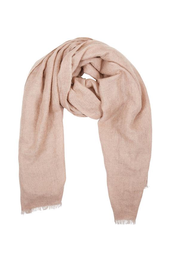 Brunello Cucinelli Solid Dusty Pink Mohair & Alpaca Lurex Scarf