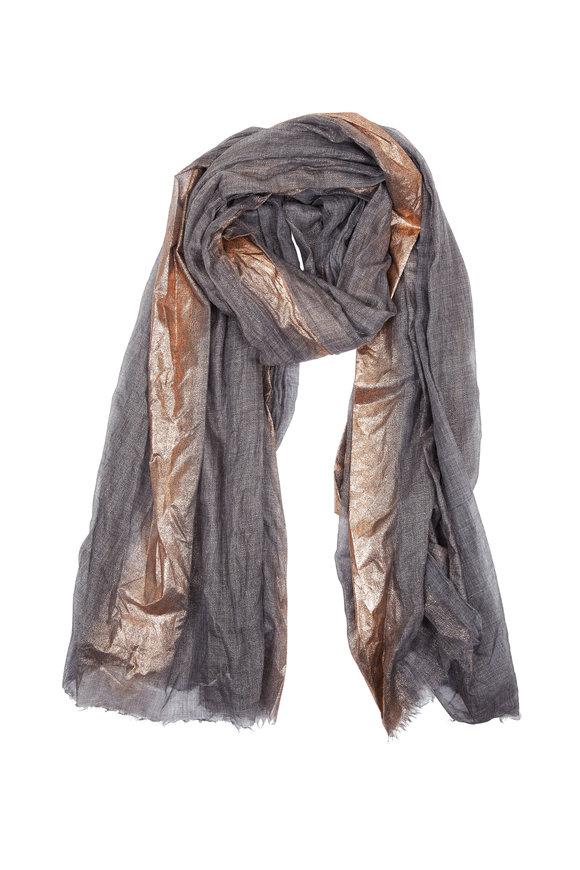 Brunello Cucinelli Charcoal Metallic Stripe Cashmere Scarf
