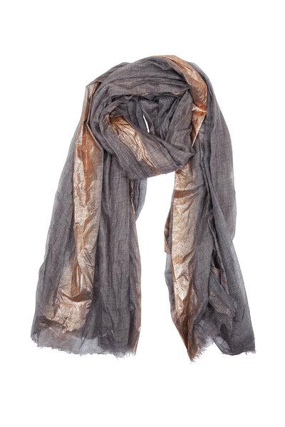 Brunello Cucinelli - Charcoal Metallic Stripe Cashmere Scarf