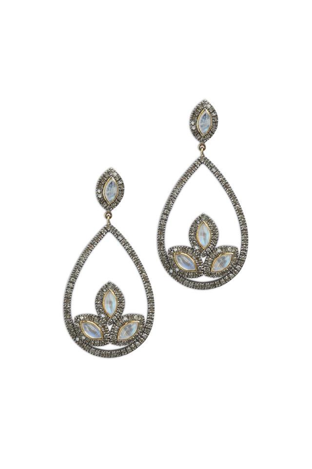 Gold & Silver Rainbow Moonstone Diamond Earrings