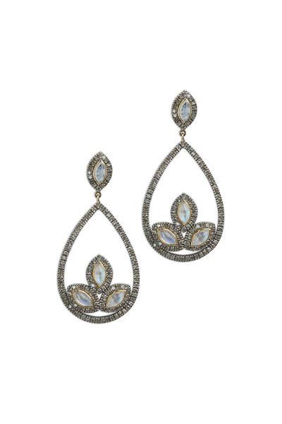 Loriann - Gold & Silver Rainbow Moonstone Diamond Earrings