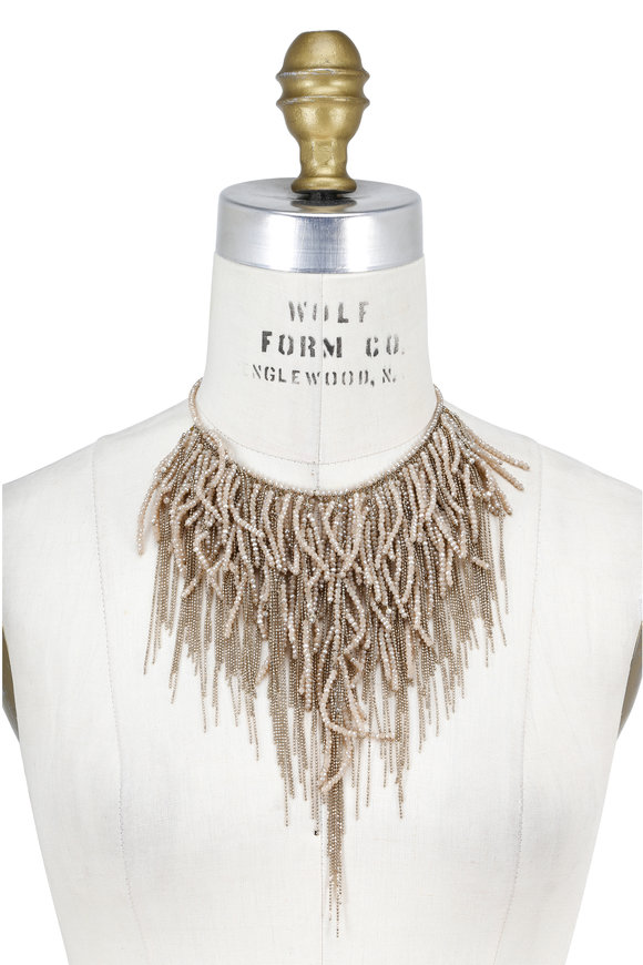 Brunello Cucinelli Beige Stone & Gold Monili Waterfall Necklace