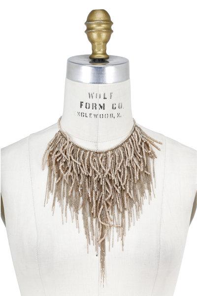 Brunello Cucinelli - Beige Stone & Gold Monili Waterfall Necklace