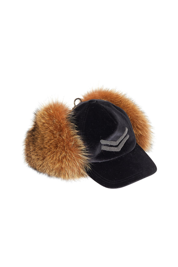 Brunello Cucinelli Black Velvet Cap With Fox Fur Ear Flaps