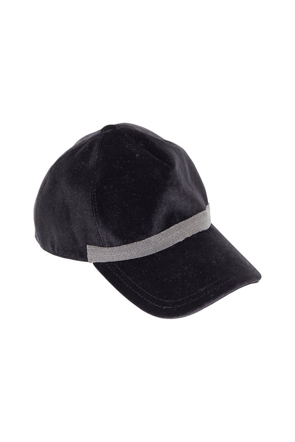 Brunello Cucinelli Black Velvet Monili Band Cap