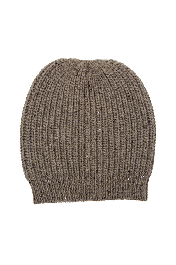 Brunello Cucinelli Military English Ribbed Cashmere Pailette Beanie