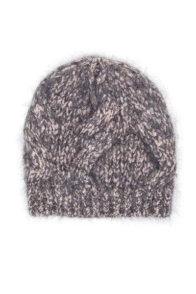 Brunello Cucinelli - Pink & Gray Wool & Mohair Cable Beanie