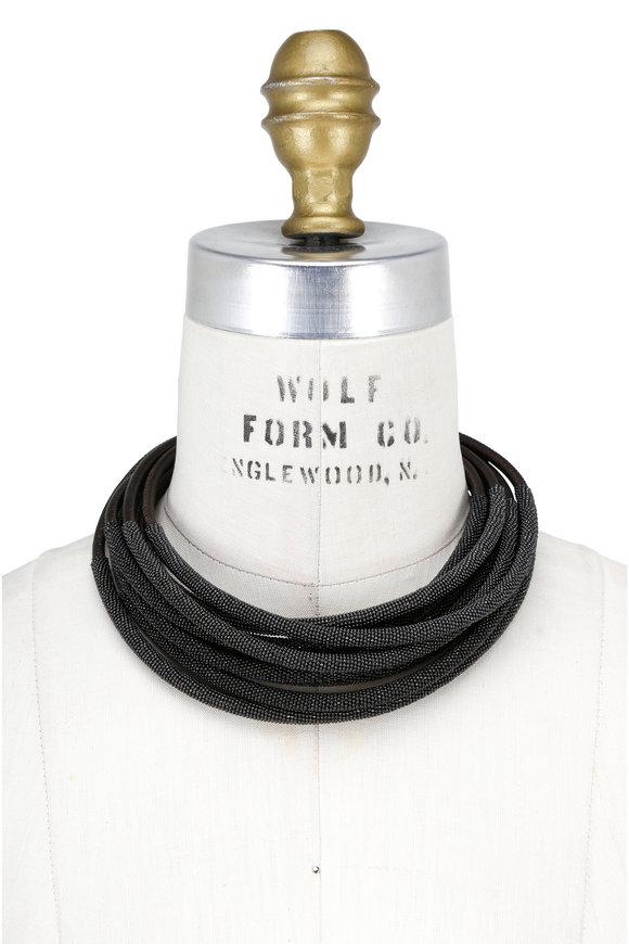 Brunello Cucinelli Military Leather & Monili Layered Tube Necklace