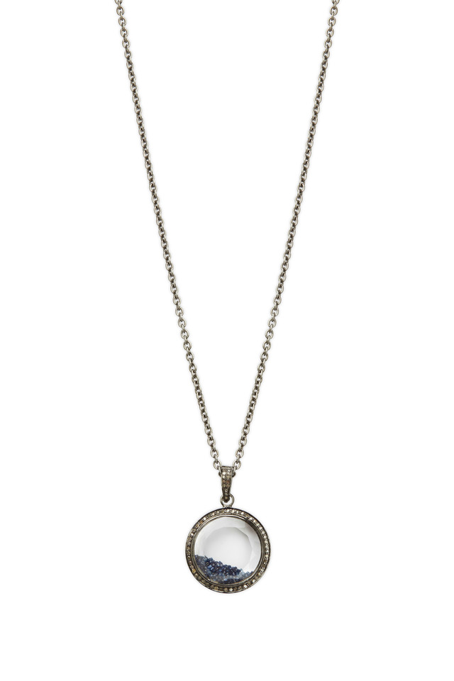 Gold & Silver Blue Diamond Shake Necklace