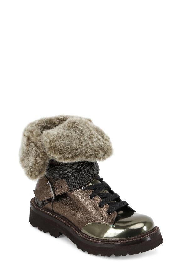 Brunello Cucinelli Military Metallic Leather Fur & Monili Combat Boot