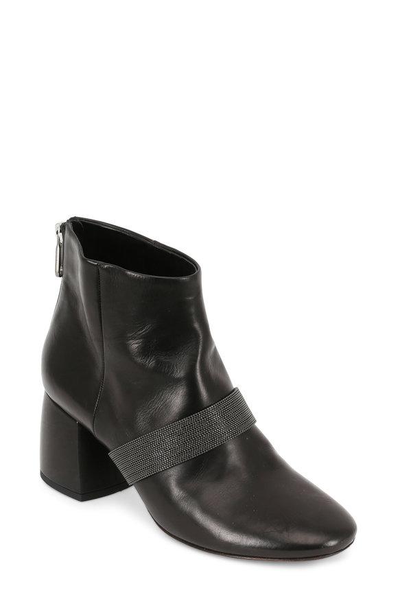 Brunello Cucinelli Black Leather Monili Strap Ankle Boot, 65mm
