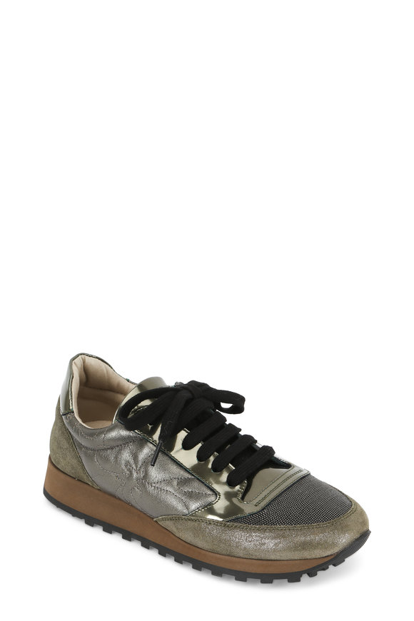 Brunello Cucinelli Military Metallic Leather & Suede Lace-Up Sneaker