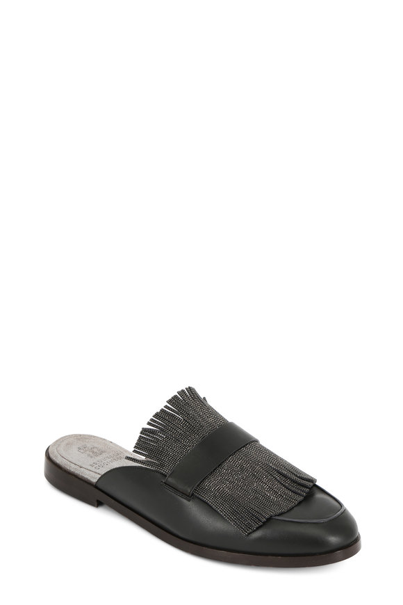 Brunello Cucinelli Charcoal Leather Monili Fringed Slide