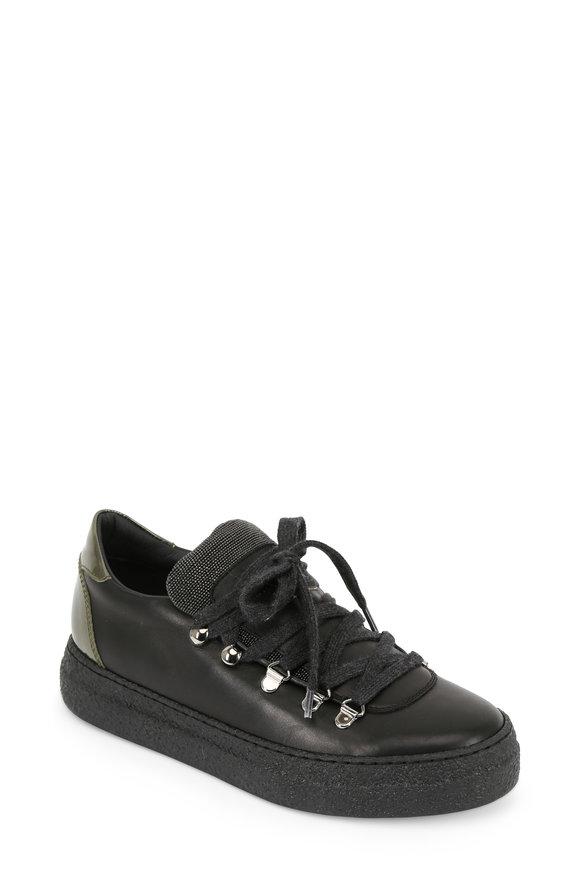 Brunello Cucinelli Black Leather Monili Trim Wedge Sneaker, 40mm