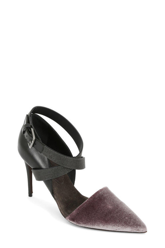 Brunello Cucinelli Charcoal Leather & Velvet Monili Strap Pump, 90mm